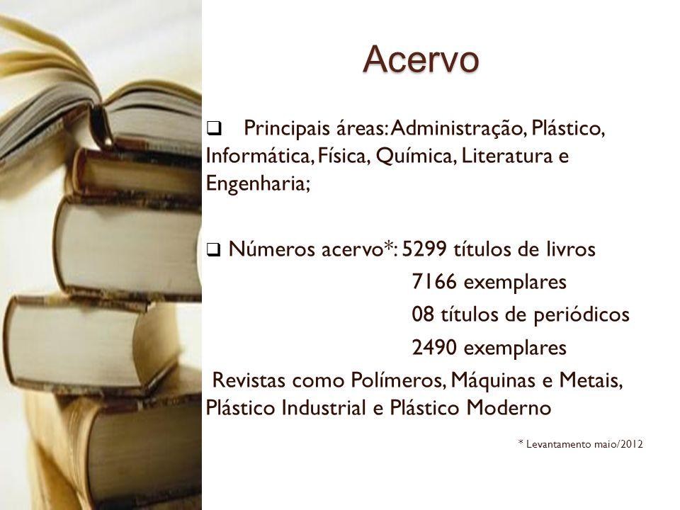 Acervo Acervo Principais áreas: Administração, Plástico, Informática, Física, Química, Literatura e Engenharia; Números acervo*: 5299 títulos de livro