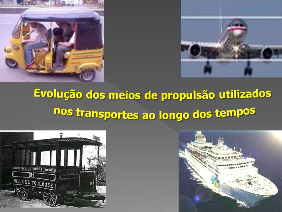 Tipos de veículos que o homem utiliza para se deslocar de um lado para outro A evolução dos transportes e o desenvolvimento dos meios de propulsão utilizados O impacto do desenvolvimento dos transportes no espaço urbano
