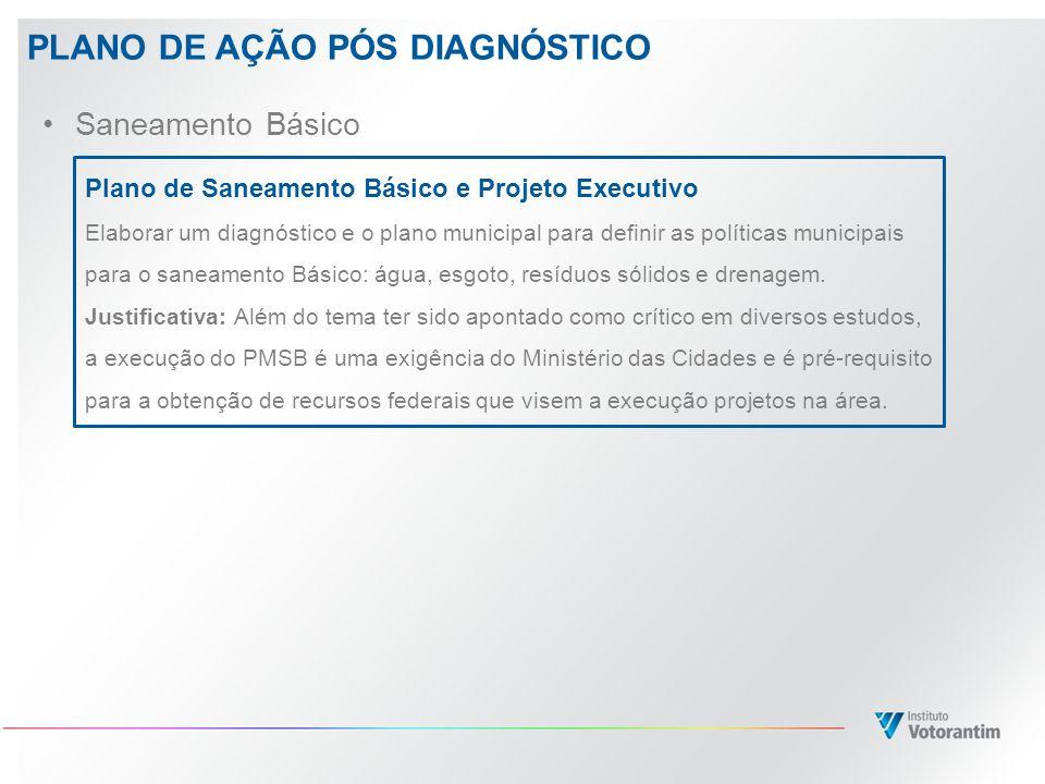 PLANO DE AÇÃO PÓS DIAGNÓSTICO Saneamento Básico Plano de Saneamento Básico e Projeto Executivo Elaborar um diagnóstico e o plano municipal para defini