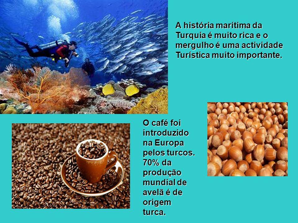 O café foi introduzido na Europa pelos turcos. 70% da produção mundial de avelã é de origem turca. A história marítima da Turquia é muito rica e o mer
