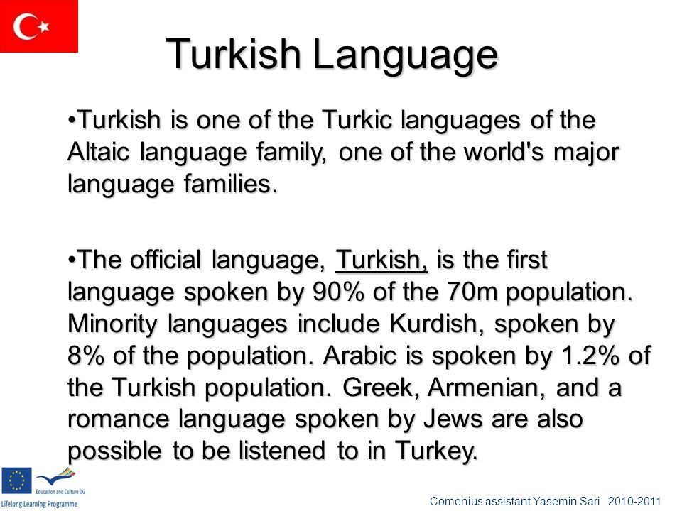 Turkish Language Turkish is one of the Turkic languages of the Altaic language family, one of the world's major language families.Turkish is one of th