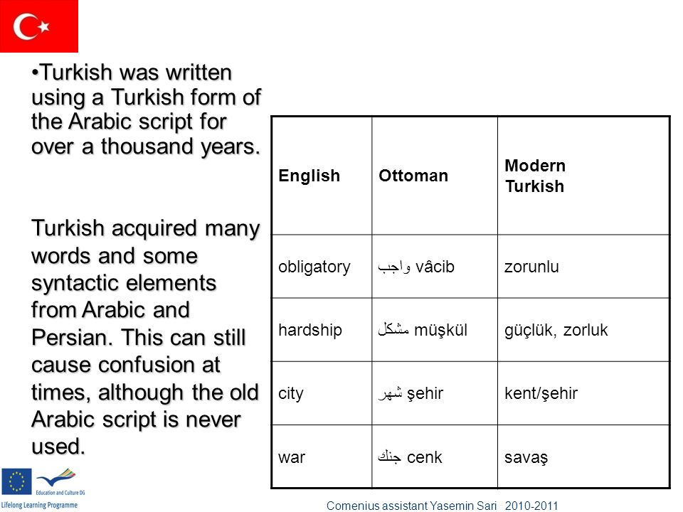 Turkish was written using a Turkish form of the Arabic script for over a thousand years.Turkish was written using a Turkish form of the Arabic script
