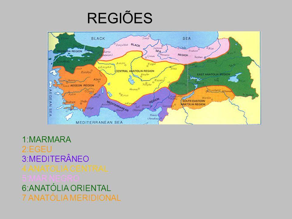 REGIÕES 1:MARMARA 2:EGEU 3:MEDITERÂNEO 4 ANATOLIA CENTRAL 5:MAR NEGRO 6:ANATÓLIA ORIENTAL 7 ANATÓLIA MERIDIONAL