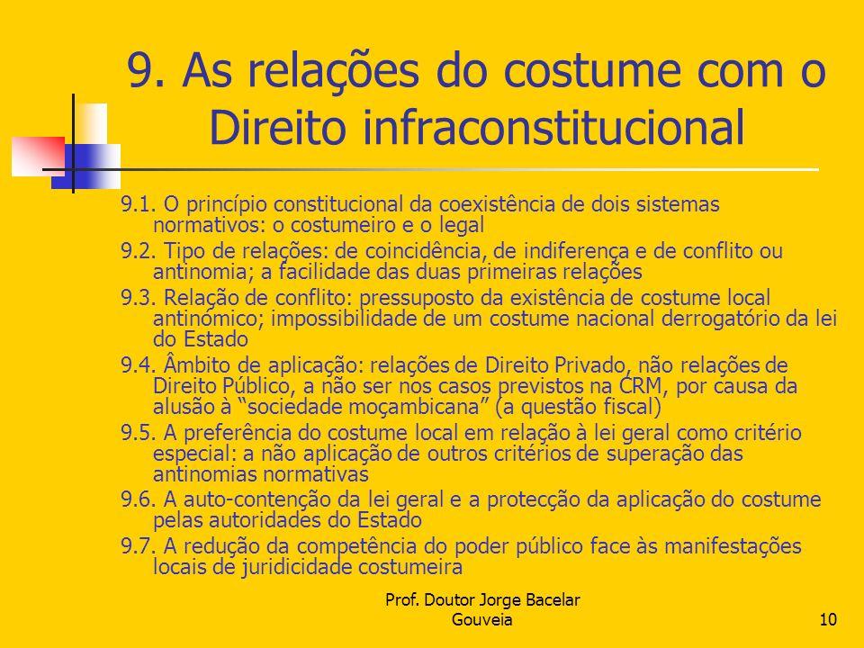Prof. Doutor Jorge Bacelar Gouveia10 9. As relações do costume com o Direito infraconstitucional 9.1. O princípio constitucional da coexistência de do