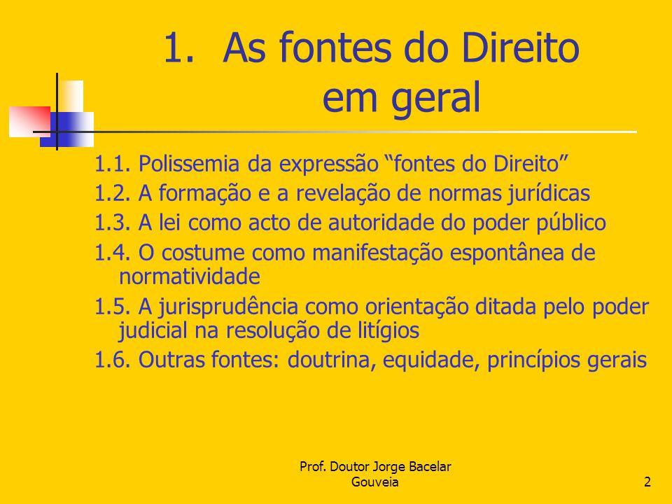 Prof. Doutor Jorge Bacelar Gouveia2 1.As fontes do Direito em geral 1.1. Polissemia da expressão fontes do Direito 1.2. A formação e a revelação de no
