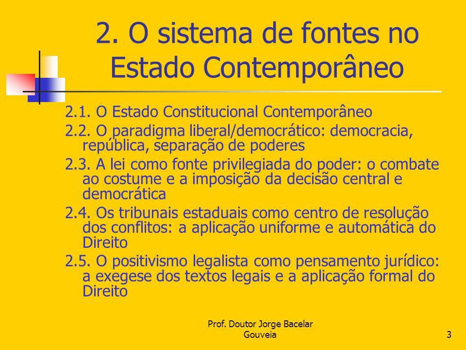 Prof. Doutor Jorge Bacelar Gouveia3 2. O sistema de fontes no Estado Contemporâneo 2.1. O Estado Constitucional Contemporâneo 2.2. O paradigma liberal