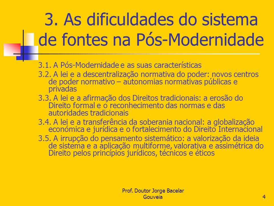 Prof. Doutor Jorge Bacelar Gouveia4 3. As dificuldades do sistema de fontes na Pós-Modernidade 3.1. A Pós-Modernidade e as suas características 3.2. A