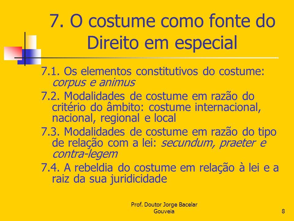 Prof. Doutor Jorge Bacelar Gouveia8 7. O costume como fonte do Direito em especial 7.1. Os elementos constitutivos do costume: corpus e animus 7.2. Mo