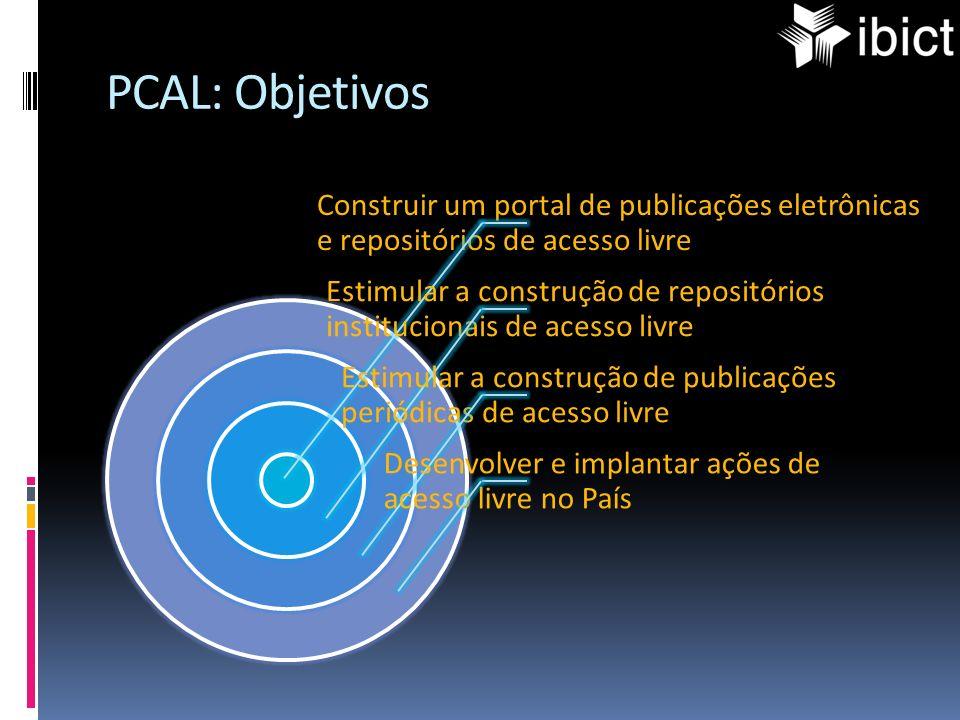 PCAL: Objetivos Construir um portal de publicações eletrônicas e repositórios de acesso livre Estimular a construção de repositórios institucionais de
