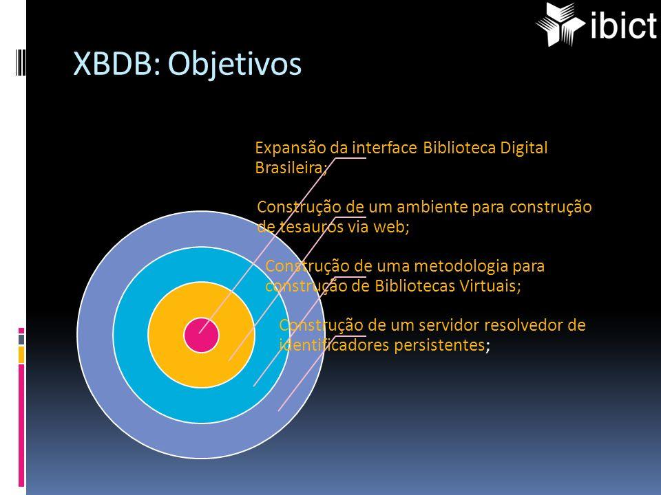 XBDB: Objetivos Expansão da interface Biblioteca Digital Brasileira; Construção de um ambiente para construção de tesauros via web; Construção de uma