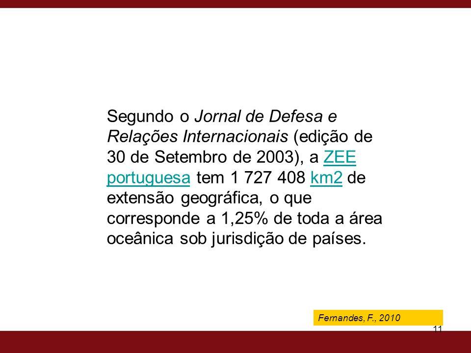 Fernandes, F., 2009 11 Segundo o Jornal de Defesa e Relações Internacionais (edição de 30 de Setembro de 2003), a ZEE portuguesa tem 1 727 408 km2 de