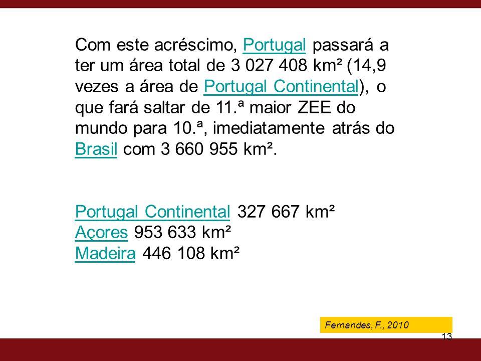 Fernandes, F., 2009 13 Com este acréscimo, Portugal passará a ter um área total de 3 027 408 km² (14,9 vezes a área de Portugal Continental), o que fa