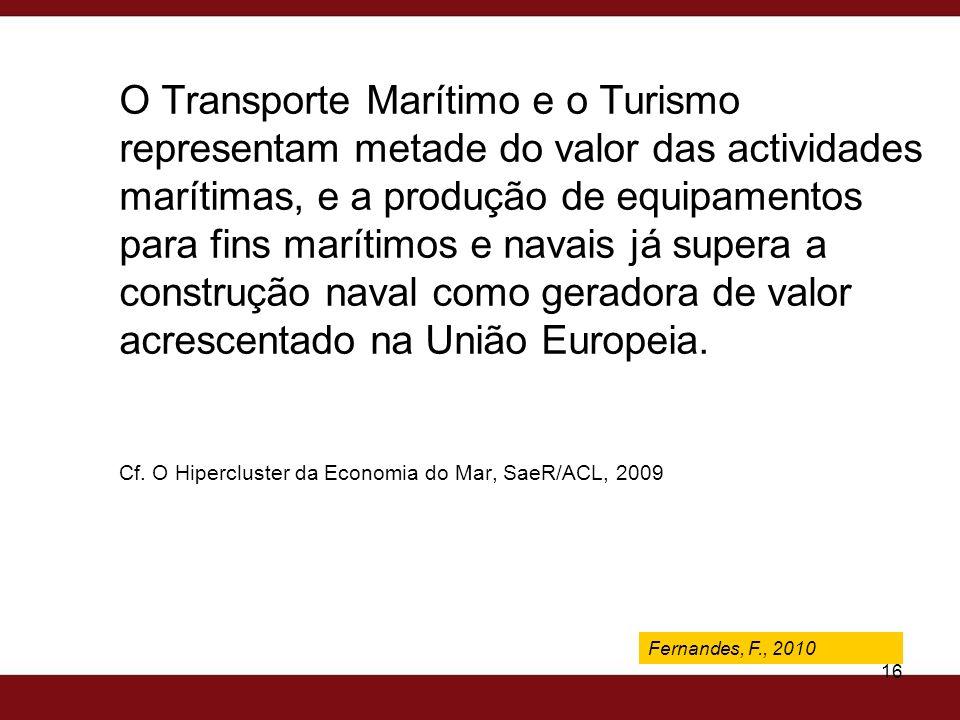 Fernandes, F., 2009 16 O Transporte Marítimo e o Turismo representam metade do valor das actividades marítimas, e a produção de equipamentos para fins