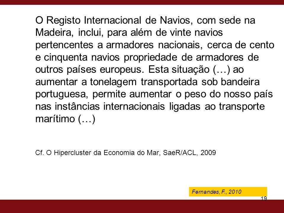 Fernandes, F., 2009 19 O Registo Internacional de Navios, com sede na Madeira, inclui, para além de vinte navios pertencentes a armadores nacionais, c