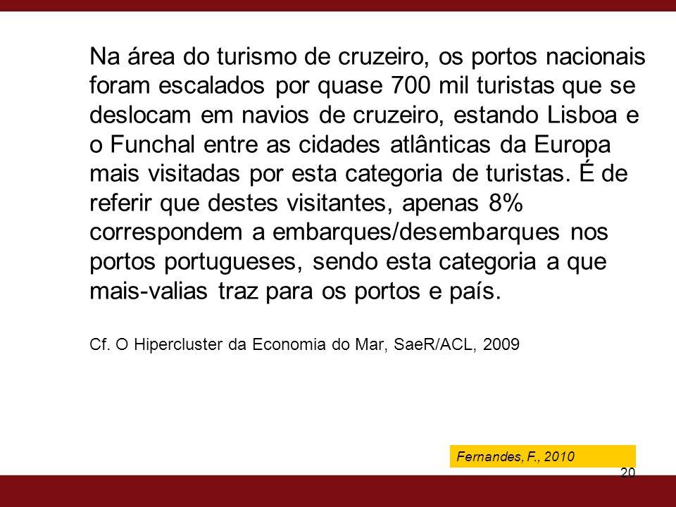 Fernandes, F., 2009 20 Na área do turismo de cruzeiro, os portos nacionais foram escalados por quase 700 mil turistas que se deslocam em navios de cru