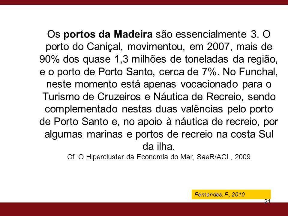 Fernandes, F., 2009 21 Os portos da Madeira são essencialmente 3. O porto do Caniçal, movimentou, em 2007, mais de 90% dos quase 1,3 milhões de tonela