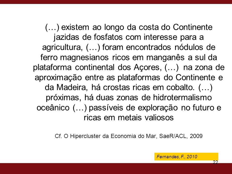 Fernandes, F., 2009 22 (…) existem ao longo da costa do Continente jazidas de fosfatos com interesse para a agricultura, (…) foram encontrados nódulos