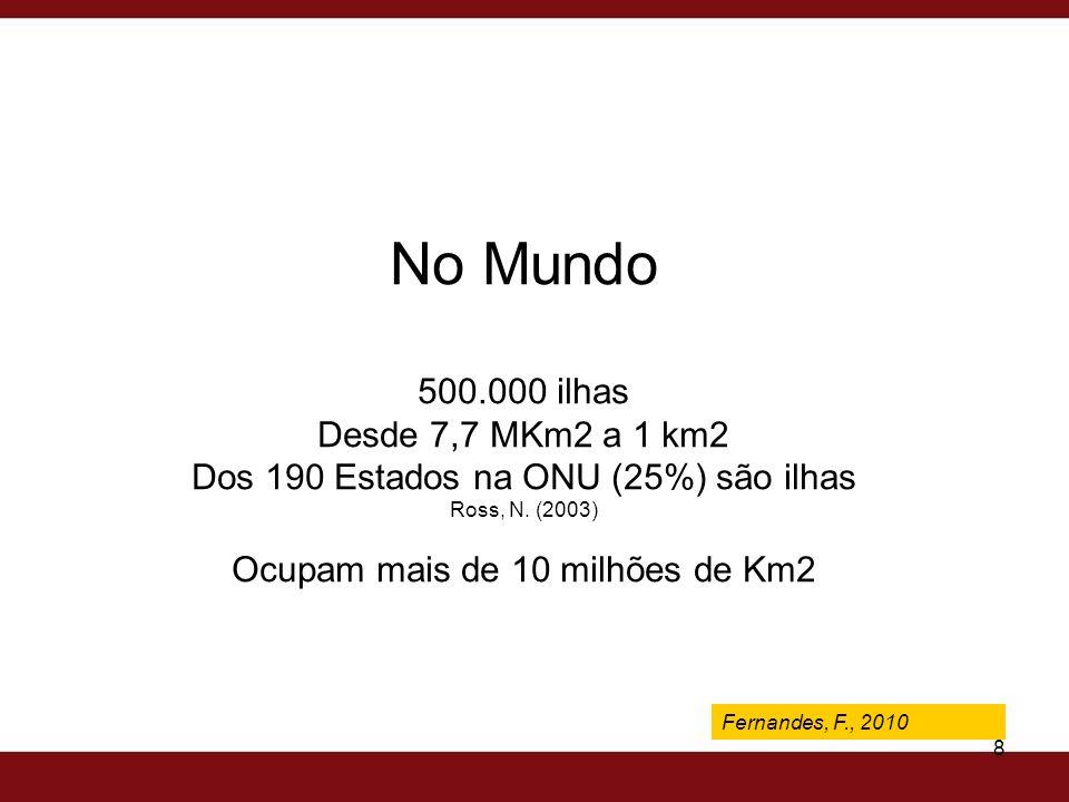 Fernandes, F., 2009 8 Fernandes, F., 2010 No Mundo 500.000 ilhas Desde 7,7 MKm2 a 1 km2 Dos 190 Estados na ONU (25%) são ilhas Ross, N. (2003) Ocupam