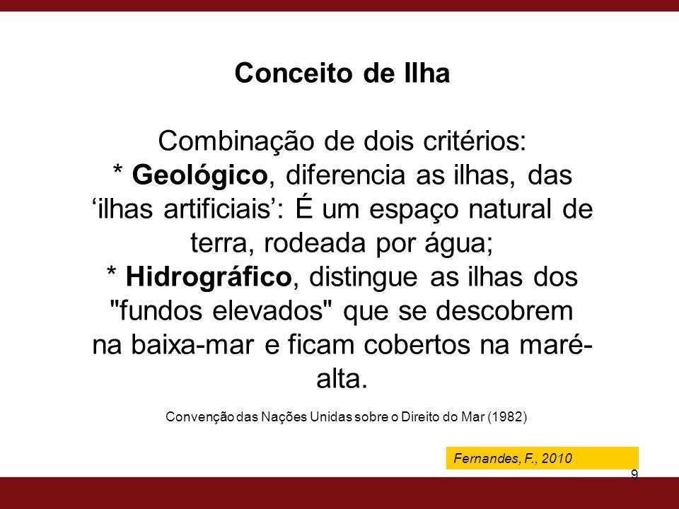 Fernandes, F., 2009 9 Conceito de Ilha Combinação de dois critérios: * Geológico, diferencia as ilhas, das ilhas artificiais: É um espaço natural de t