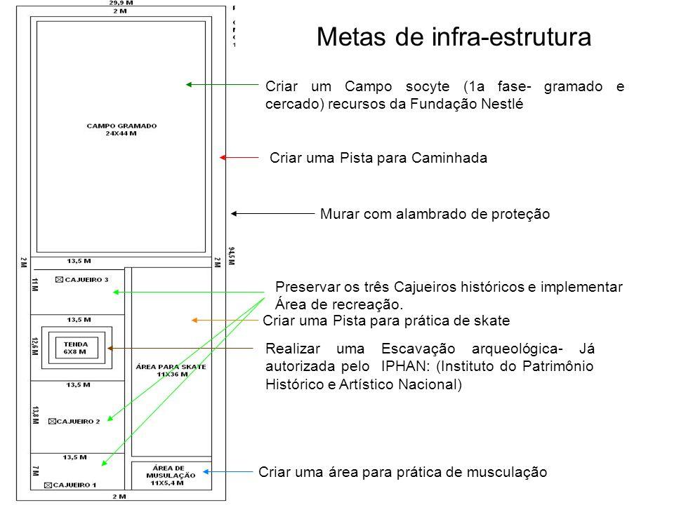 Criar um Campo socyte (1a fase- gramado e cercado) recursos da Fundação Nestlé Metas de infra-estrutura Criar uma Pista para Caminhada Criar uma Pista