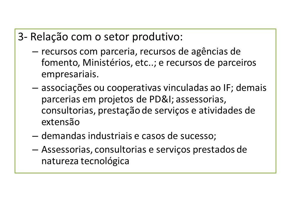 3- Relação com o setor produtivo: – recursos com parceria, recursos de agências de fomento, Ministérios, etc..; e recursos de parceiros empresariais.