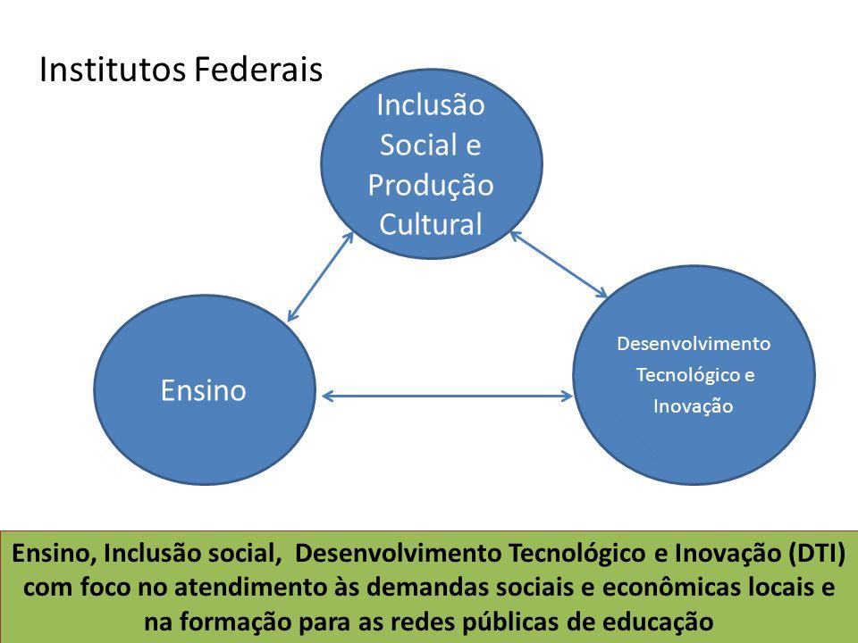 Ensino Desenvolvimento Tecnológico e Inovação Ensino, Inclusão social, Desenvolvimento Tecnológico e Inovação (DTI) com foco no atendimento às demanda