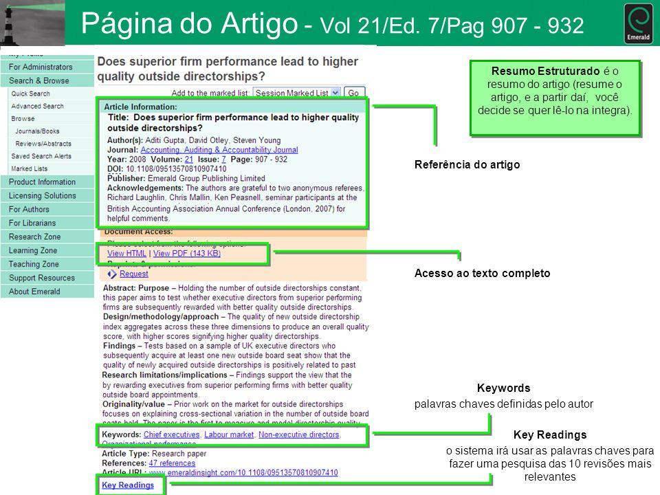 Página do Artigo - Vol 21/Ed. 7/Pag 907 - 932 Referência do artigo Acesso ao texto completo Keywords palavras chaves definidas pelo autor Key Readings