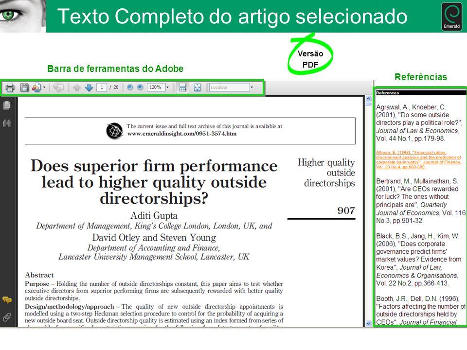 Texto Completo do artigo selecionado Versão PDF Barra de ferramentas do Adobe Referências
