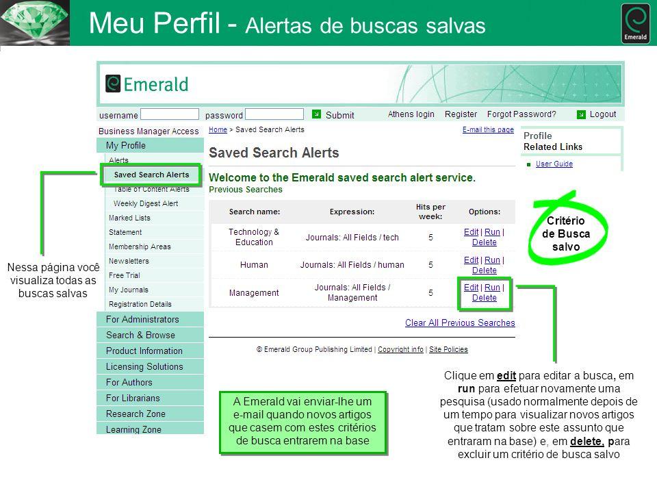 Meu Perfil - Alertas de buscas salvas Nessa página você visualiza todas as buscas salvas Critério de Busca salvo Clique em edit para editar a busca, e