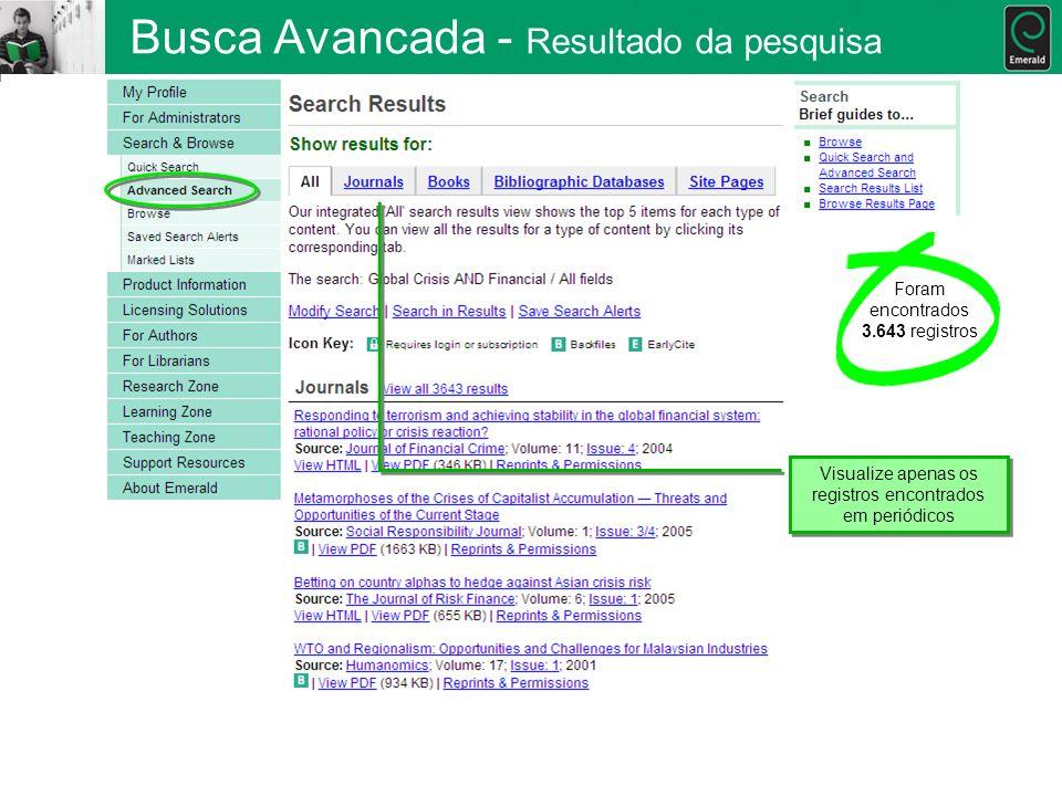 Busca Avancada - Resultado da pesquisa Visualize apenas os registros encontrados em periódicos Foram encontrados 3.643 registros