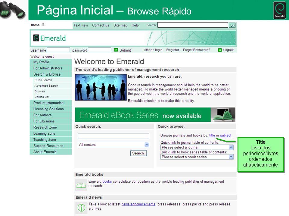 Página Inicial – Browse Rápido Title Lista dos periódicos/livros ordenados alfabeticamente