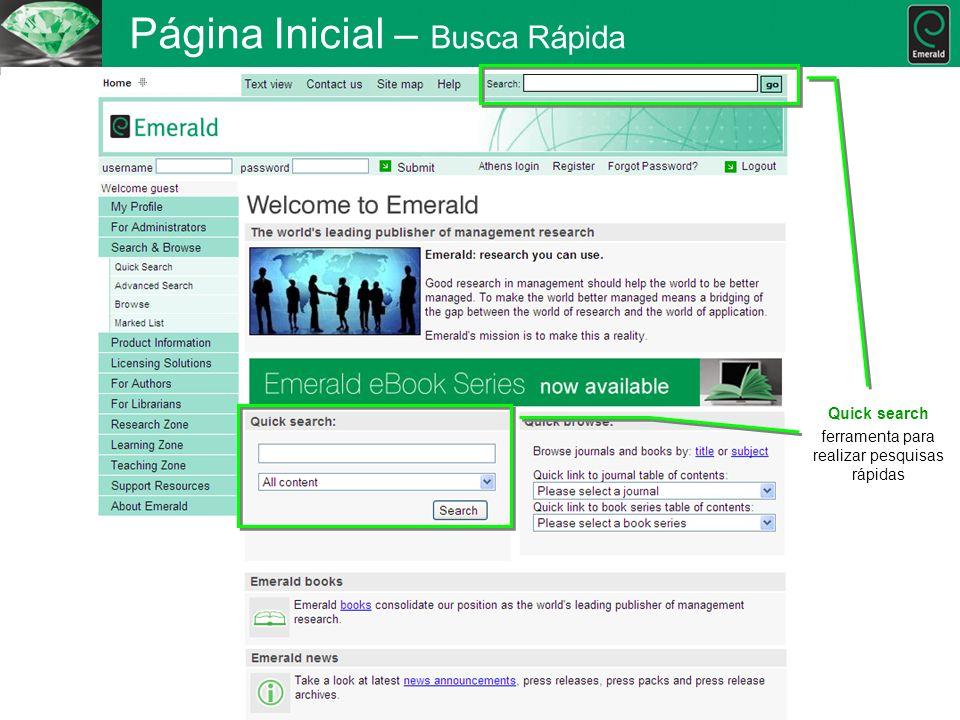 Página Inicial – Busca Rápida Quick search ferramenta para realizar pesquisas rápidas