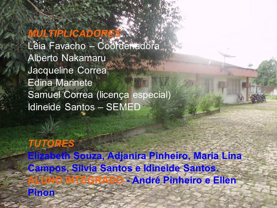 MULTIPLICADORES Léia Favacho – Coordenadora Alberto Nakamaru Jacqueline Correa Edina Marinete Samuel Correa (licença especial) Idineide Santos – SEMED