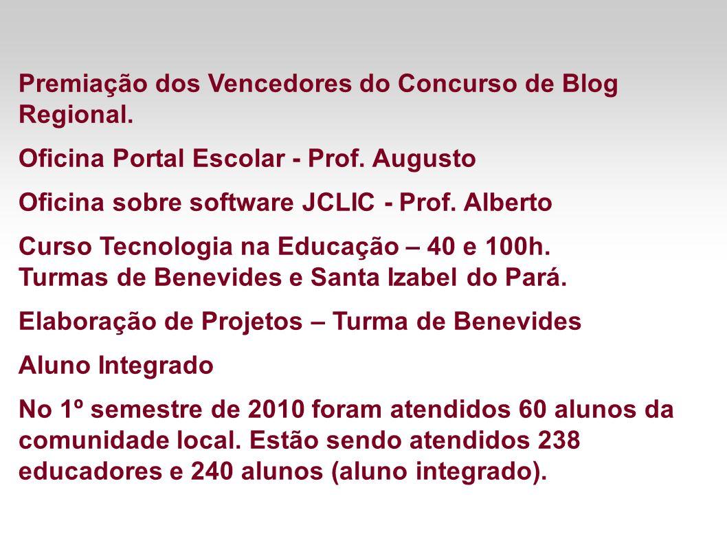Premiação dos Vencedores do Concurso de Blog Regional. Oficina Portal Escolar - Prof. Augusto Oficina sobre software JCLIC - Prof. Alberto Curso Tecno
