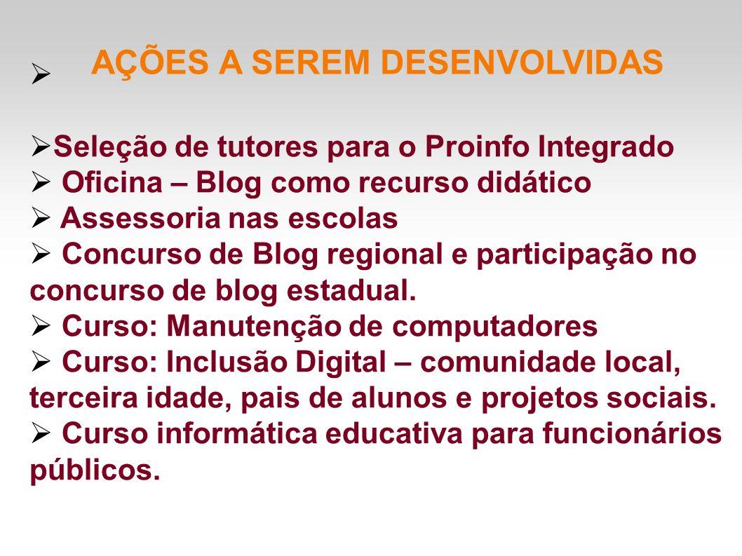 AÇÕES A SEREM DESENVOLVIDAS Seleção de tutores para o Proinfo Integrado Oficina – Blog como recurso didático Assessoria nas escolas Concurso de Blog r