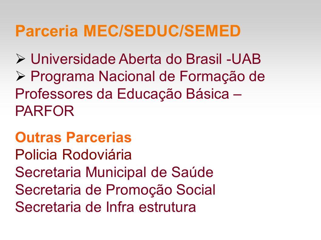 Universidade Aberta do Brasil -UAB Programa Nacional de Formação de Professores da Educação Básica – PARFOR Outras Parcerias Policia Rodoviária Secret