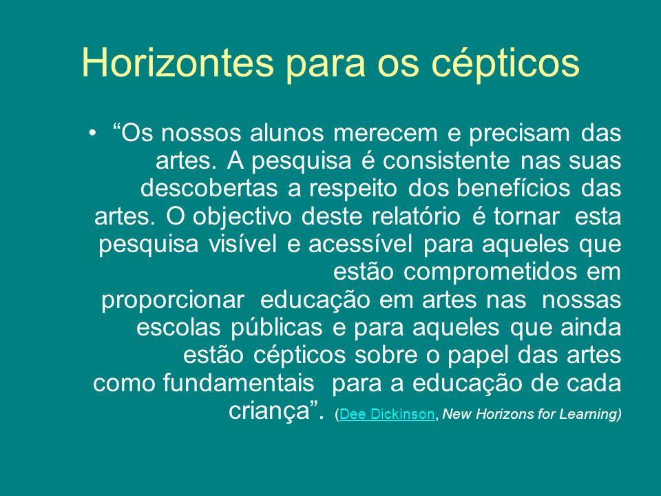 Horizontes para os cépticos Os nossos alunos merecem e precisam das artes. A pesquisa é consistente nas suas descobertas a respeito dos benefícios das