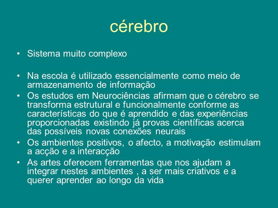 cérebro Sistema muito complexo Na escola é utilizado essencialmente como meio de armazenamento de informação Os estudos em Neurociências afirmam que o