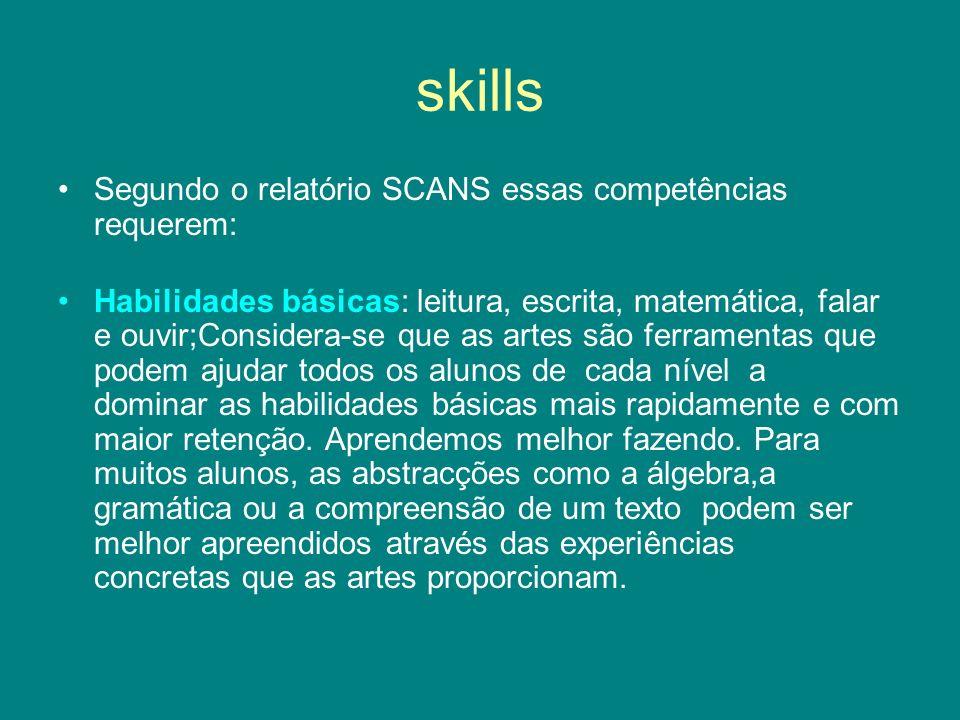 skills Segundo o relatório SCANS essas competências requerem: Habilidades básicas: leitura, escrita, matemática, falar e ouvir;Considera-se que as art