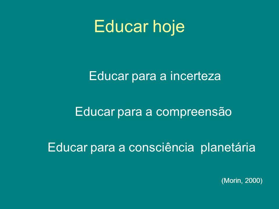 Educar hoje Educar para a incerteza Educar para a compreensão Educar para a consciência planetária (Morin, 2000)