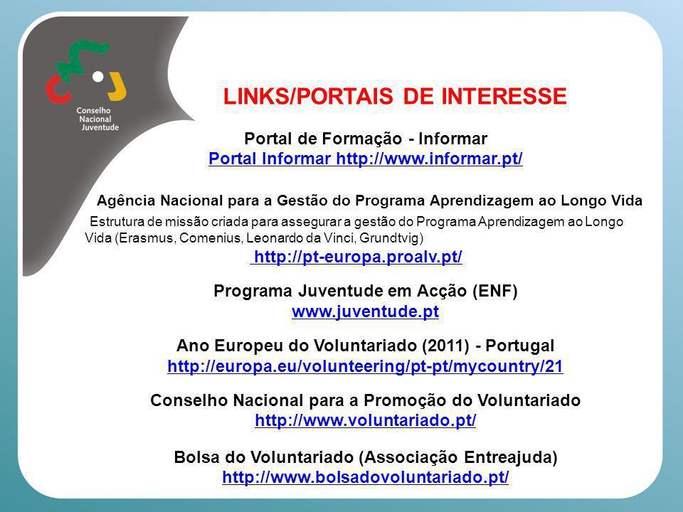 LINKS/PORTAIS DE INTERESSE Projecto Do Something (Voluntariado/Participação) http://www.dosomething.pt/ Volunteerbook – Bolsa de Voluntariado no Facebook www.facebook.com Plataforma Portuguesa das ONGD (participação, capacitação) http://www.plataformaongd.pt/ Conselho Nacional de Juventude www.cnj.pt www.tunaeuropa.com/cd Aconselhamos-te a visitar também os portais das organizações membro e associadas do CNJ Federações Nacionais de Associações Juvenis www.fnaj.pt
