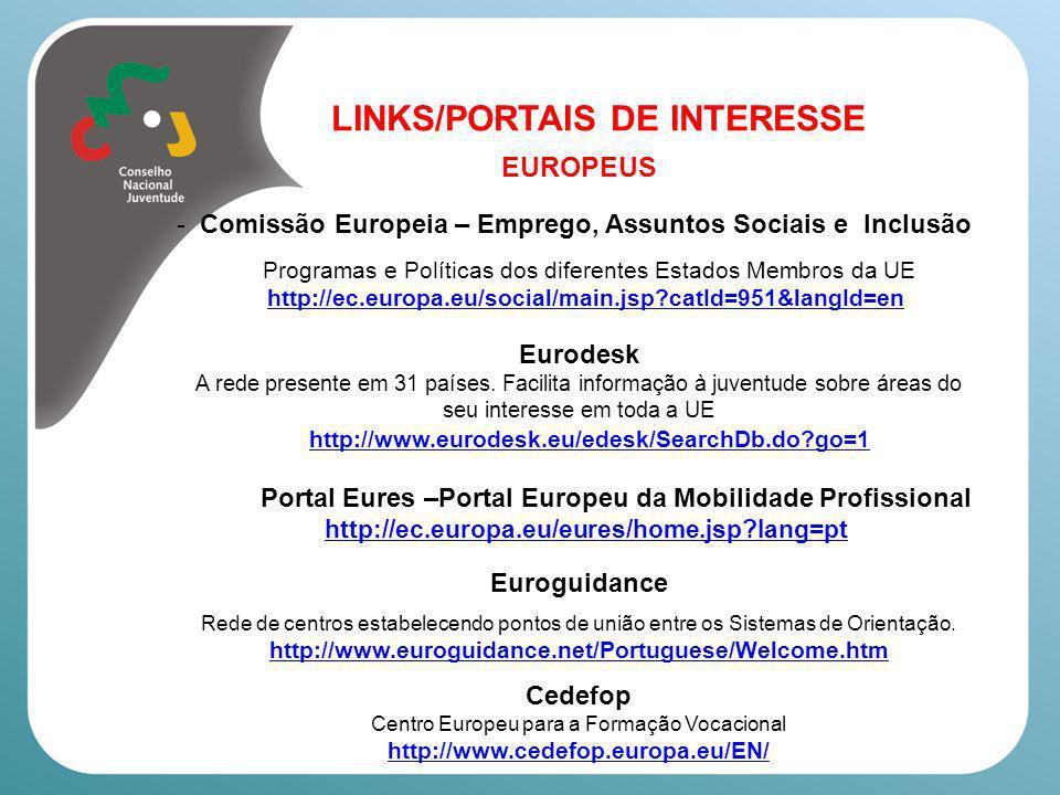 LINKS/PORTAIS DE INTERESSE EUROPEUS Your Europe – Informação sobre direitos e deveres na UE Empresas http://ec.europa.eu/youreurope/business/index_pt.htm Cidadãos/ãs http://ec.europa.eu/youreurope/citizens/index_pt.htm Comissão Europeia - Oportunidades de Emprego /Estágio http://ec.europa.eu/civil_service/job/index_en.htm Observatório Europeu de Emprego www.eu-employment-observatory.net EUROACTIV – toda a informação sobre UE actualizada (inclusive sobre Emprego – Oportunidades) http://www.euractiv.com/en