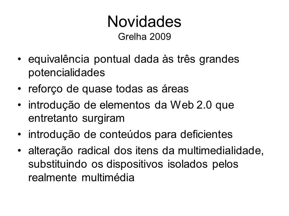 Novidades Grelha 2009 equivalência pontual dada às três grandes potencialidades reforço de quase todas as áreas introdução de elementos da Web 2.0 que
