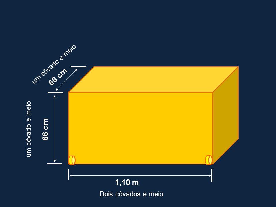 1,10 m 66 cm Dois côvados e meio um côvado e meio