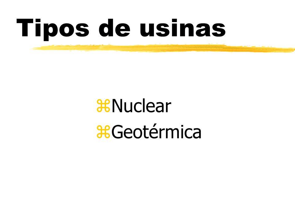 Tipos de usinas zNzNuclear zGzGeotérmica
