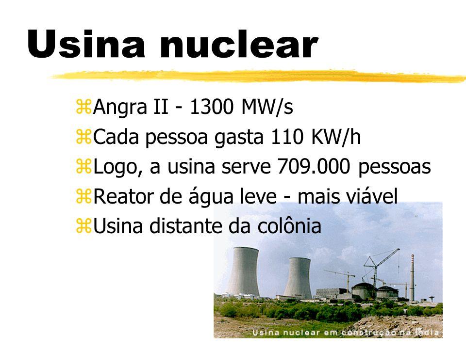 Usina nuclear zAngra II - 1300 MW/s zCada pessoa gasta 110 KW/h zLogo, a usina serve 709.000 pessoas zReator de água leve - mais viável zUsina distant