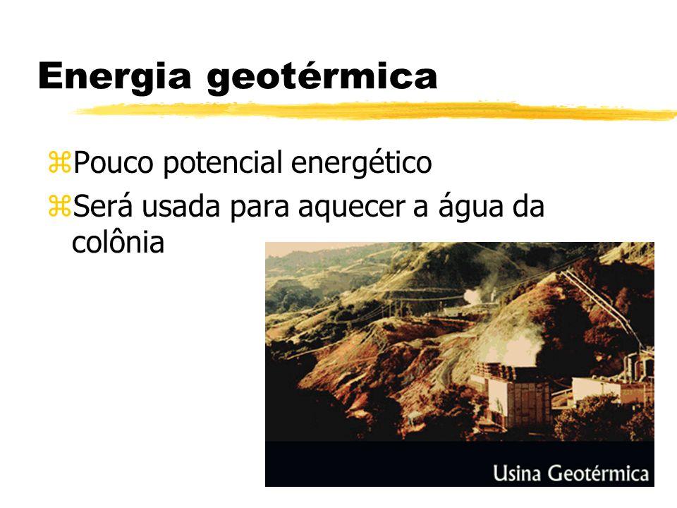 Energia geotérmica zPzPouco potencial energético zSzSerá usada para aquecer a água da colônia