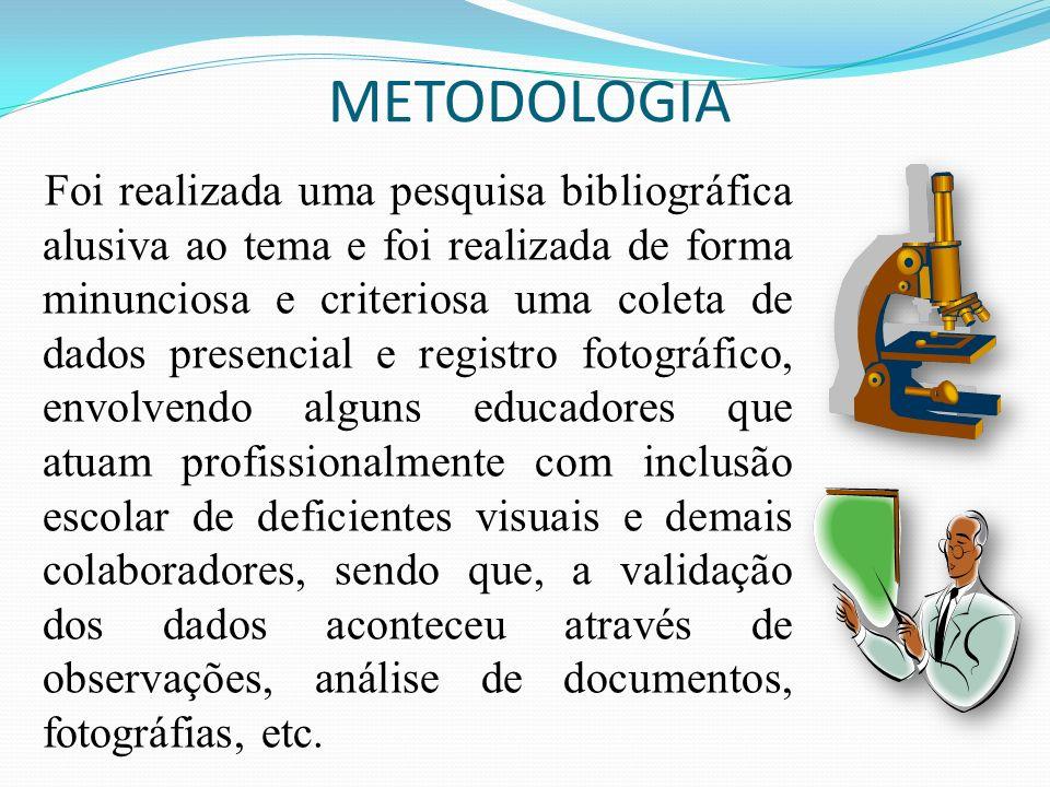 METODOLOGIA Foi realizada uma pesquisa bibliográfica alusiva ao tema e foi realizada de forma minunciosa e criteriosa uma coleta de dados presencial e