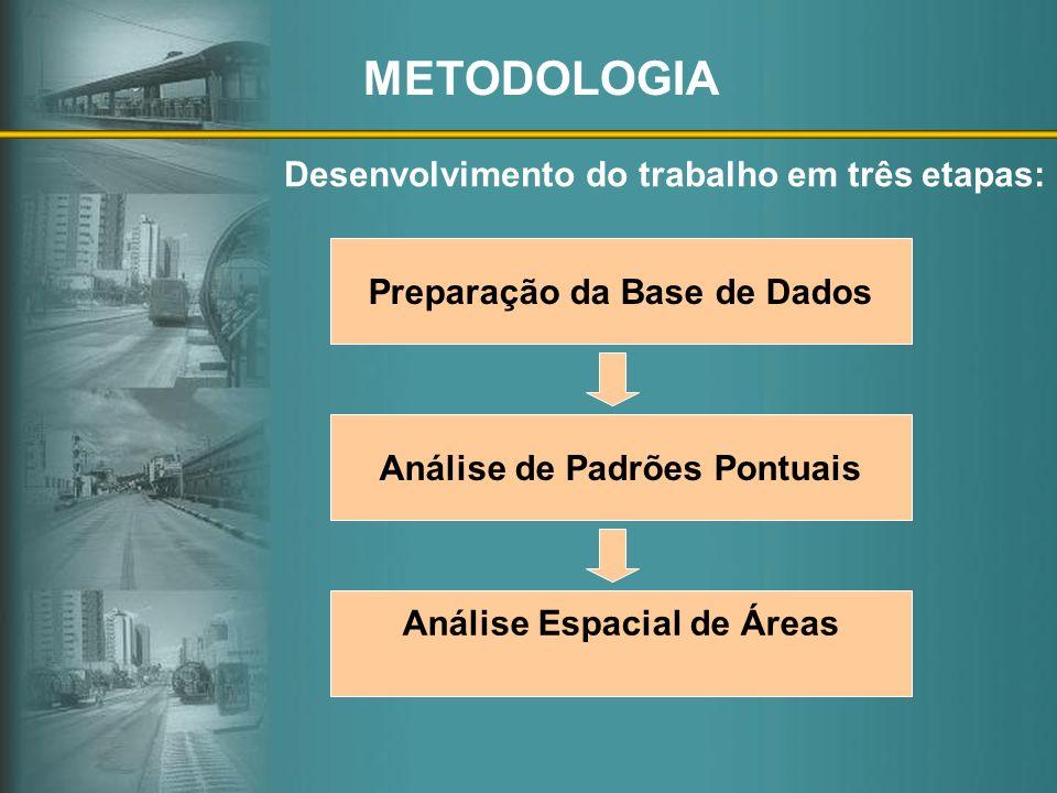 METODOLOGIA Desenvolvimento do trabalho em três etapas: Preparação da Base de Dados Análise de Padrões Pontuais Análise Espacial de Áreas