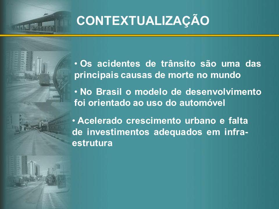 CONTEXTUALIZAÇÃO Os acidentes de trânsito são uma das principais causas de morte no mundo No Brasil o modelo de desenvolvimento foi orientado ao uso d